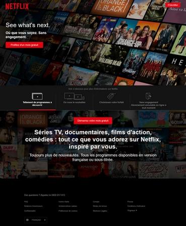 La page d'accueil de Netflix est assez courte. Mais ça n'en fait pas forcément la norme à suivre.