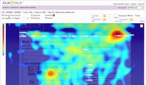 Avec Clicktale, découvrez sur quels éléments de votre page se porte l'attention de vos visiteurs